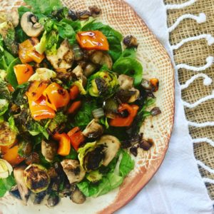 Roasted Veggie Salad with Onion Balsamic Dressing